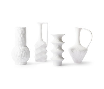 HK-Living Matte white porcelain vases - set of 4 pieces