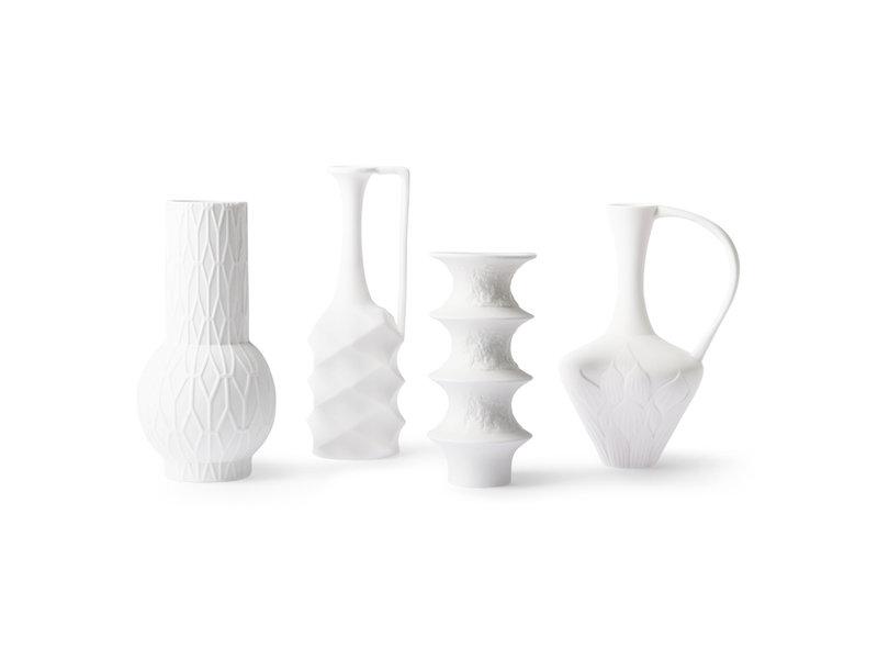 HK-Living Matte witte porseleinen vazen - set van 4 stuks