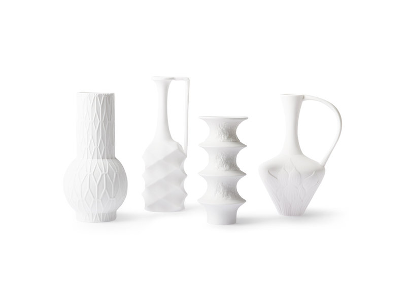 HK-Living Mattweiße Porzellanvasen - 4er-Set