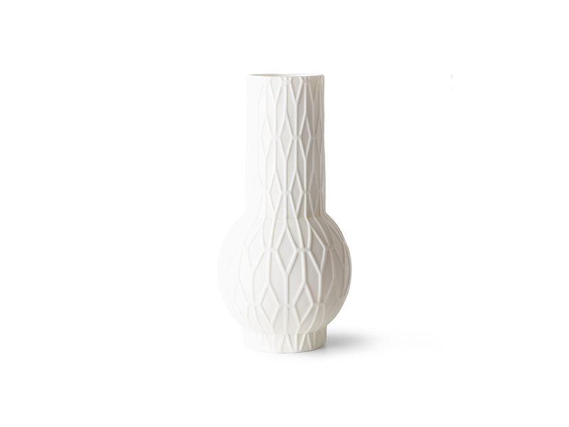 HK-Living Jarrones de porcelana blanca mate - juego de 4 piezas