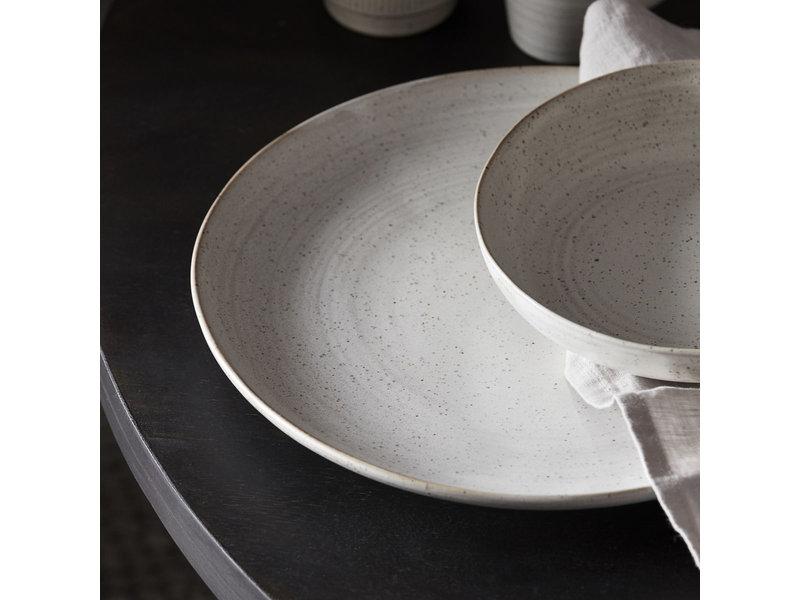 House Doctor Pion diner borden wit/grijs- set van 6 stuks