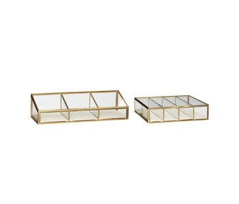 Hubsch Glass display boxes glass brass