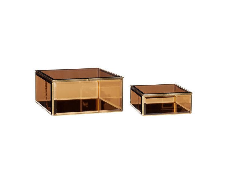 Hubsch Glazen display kistjes metaal - set van 2 stuks