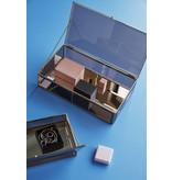 Hubsch Glazen display kistjes metaal messing- set van 2 stuks