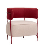 Hubsch Lounge stoel polyester/metaal - roze/rood