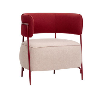 Hubsch Lounge chair polyester / metal - pink / red