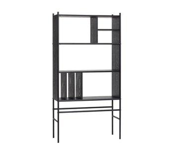 Hubsch Estante con estantes madera / metal - negro