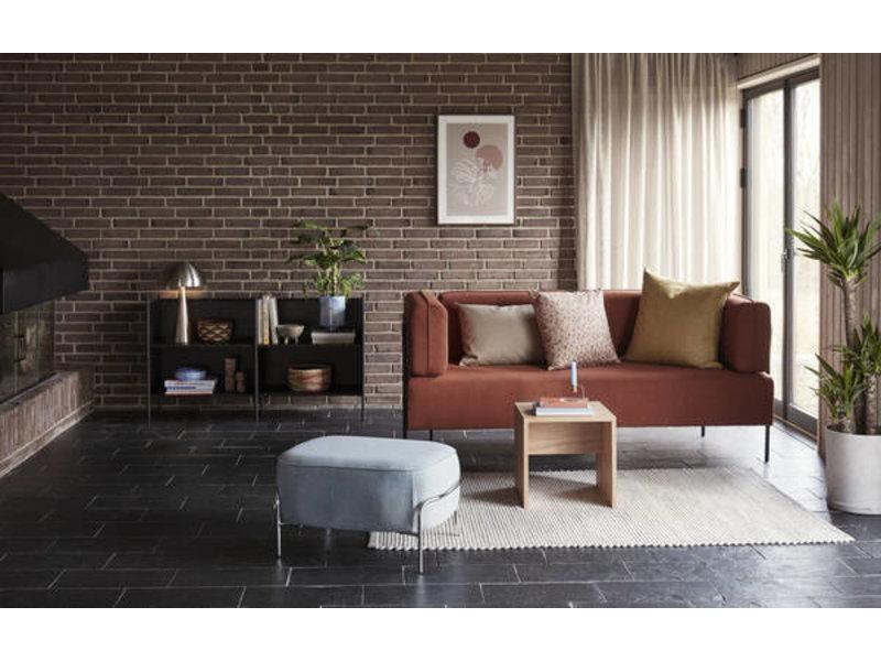 Hubsch Bank polyester/metaal - bruin/zwart