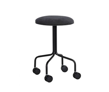 Hubsch Stool with wheels - black