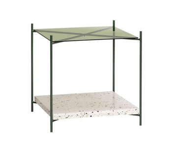 Hubsch Side table terrazzo / glass - natural / green