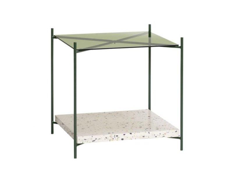 Hubsch Bijzettafel terrazzo/glas - naturel/groen