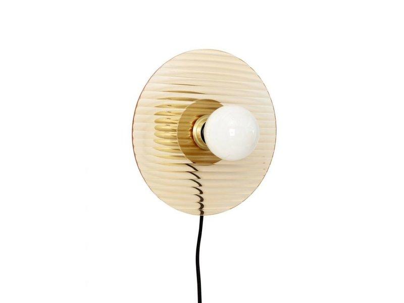 Hubsch Wandlamp metaal/glas - messing