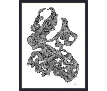Nordal Ilustración de Rocaille - blanco y negro