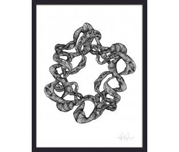 Nordal Kransillustration - sort og hvid