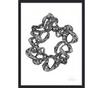 Nordal Wreath illustration - black and white