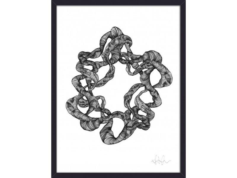 Nordal Wreath illustration - zwart/wit
