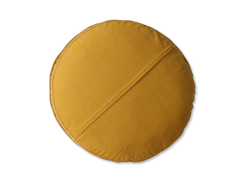 HK-Living Gestreept velvet zitkussen - oker/goud