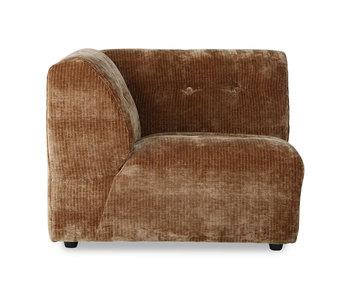 HK-Living Vint element sofa venstre corduroy fløjl - ældet guld