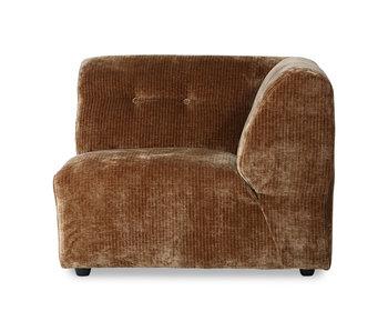 HK-Living Vint Element Sofa rechts Cord Samt - gealtertes Gold