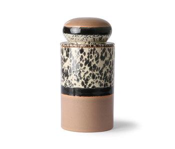 HK-Living Keramik 70er Jahre Vorratsglas - tropisch