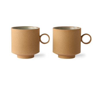 HK-Living Bold & basic ceramic - coffee mug ocher set of 2 pieces