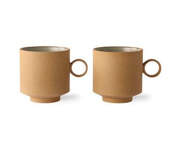 HK-Living Fed & grundlæggende keramik - kaffekrus okker sæt med 2 stk