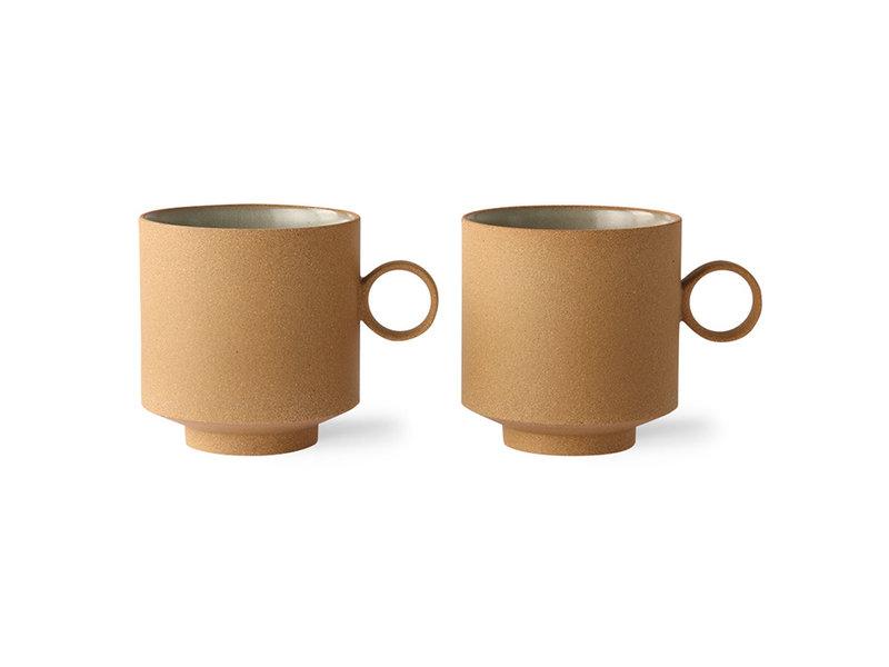 HK-Living Bold & basic keramiek - koffie mok oker set van 2 stuks
