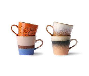 HK-Living Americano Tassen aus den 70er Jahren aus Keramik - 4er-Set