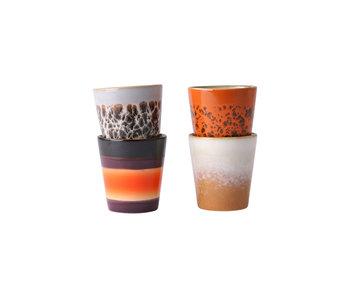 HK-Living Keramik Ristretto Tassen der 70er Jahre - 4er-Set