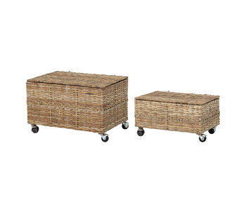 Bloomingville Mini Storage boxes with lid rattan - set of 2 pieces