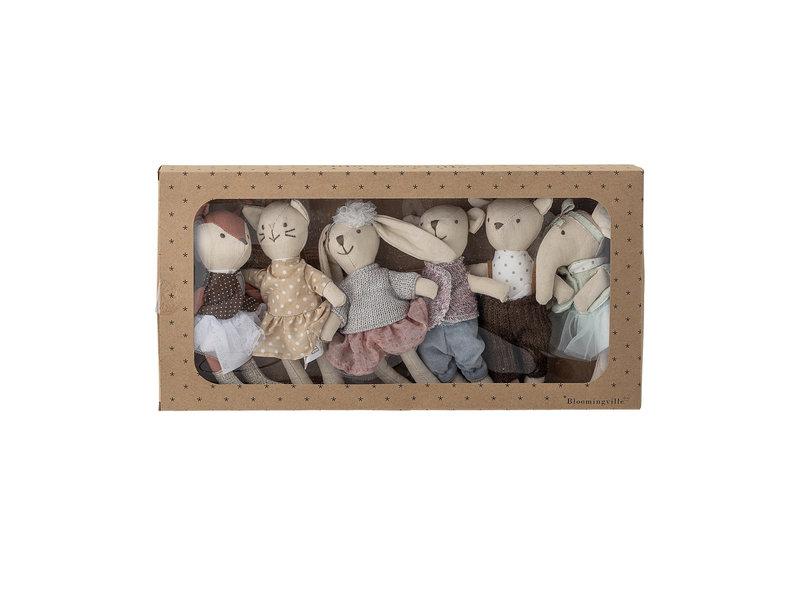 Bloomingville Mini Friends speelgoed knuffeltjes - set van 6 stuks