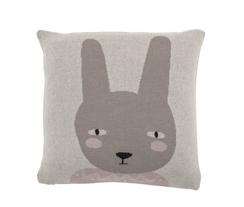 Bloomingville Mini Rabbit cushion cotton - gray