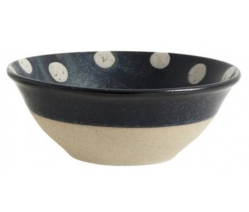 Nordal Grainy bowl dots dark blue / sand -set of 4 pieces