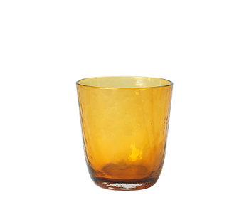Broste Copenhagen Hammered glasses 33.5cl amber - set of 12 pieces