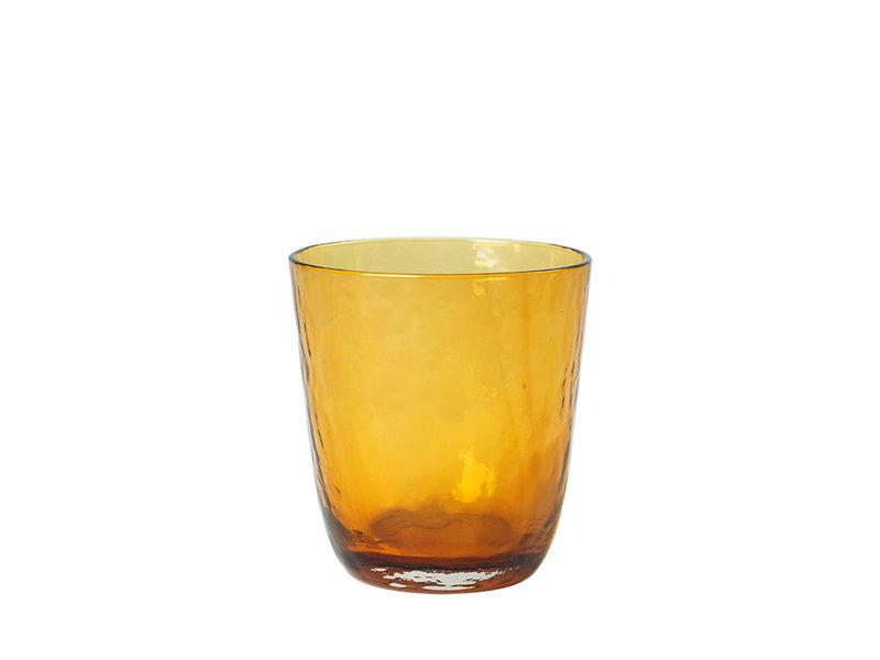 Broste Copenhagen Hammered glazen 33,5cl amber - set van 12 stuks
