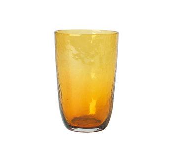 Broste Copenhagen Hammered glasses 50cl amber - set of 12 pieces