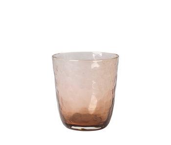 Broste Copenhagen Hammered glazen 33,5cl bruin - set van 12 stuks