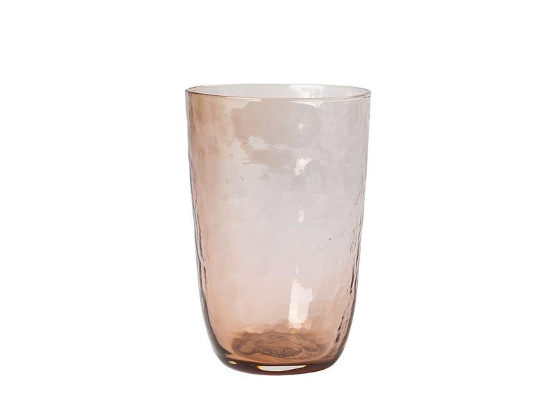 Broste Copenhagen Hammered glazen 50cl bruin - set van 12 stuks