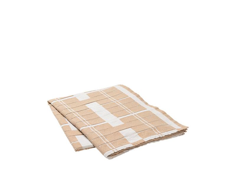 Broste Copenhagen Earl tafelkleed 160x300cm - rainy day/indian tan