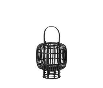 Broste Copenhagen Goran lantern bamboo / glass black- Ø27,5XH33CM
