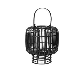 Broste Copenhagen Goran lantern bamboo / glass black- Ø37XH42CM
