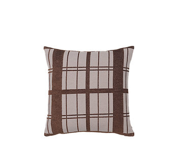 Broste Copenhagen Checker cushion brown incl filling - W50XL50CM