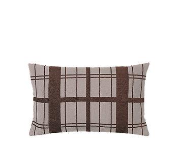 Broste Copenhagen Checker cushion brown incl filling - W40XL60CM