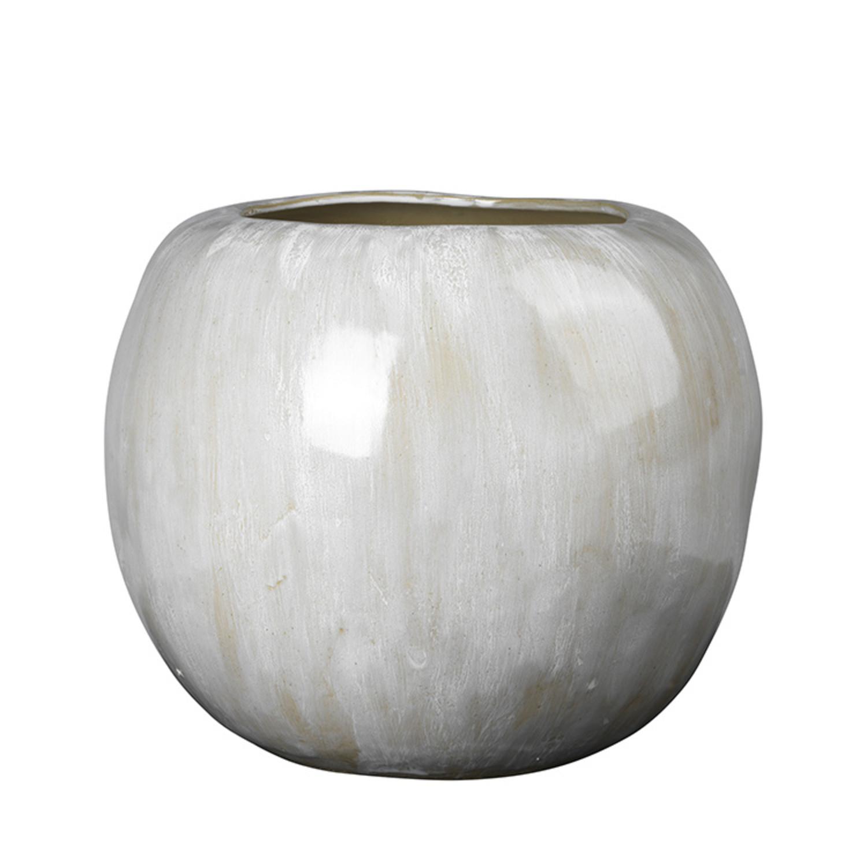 Broste Copenhagen Apple Vase Steingut antik weiß   Ø20,20XH20,20CM