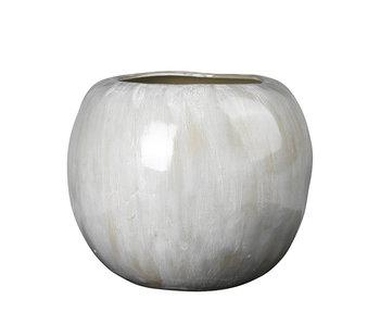 Broste Copenhagen Vase pomme faïence blanc antique - Ø41,5XH34,5CM