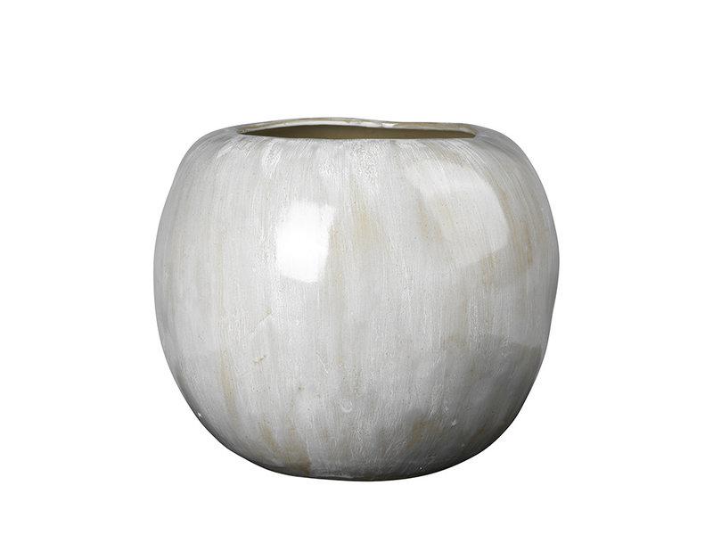 Broste Copenhagen Apple vaas aardewerk antiek wit - Ø41,5XH34,5CM