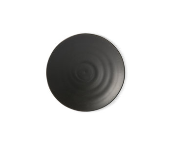HK-Living Kyoto keramiek dessert borden - mat zwart sets van 5 stuks
