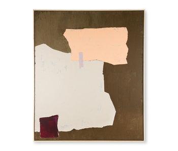 HK-Living Peinture abstraite - moutarde / nude 100x120cm