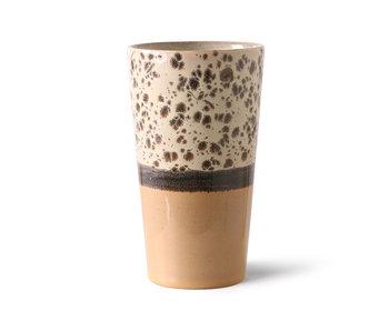 HK-Living Keramieken 70's latte mokken tropical - set van 4 stuks