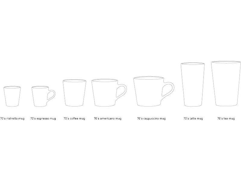 HK-Living Keramieken 70's latte mokken mars - set van 4 stuks